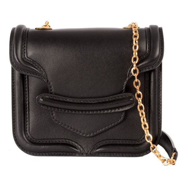 Alexander McQueen 'Heroine' Mini Black Leather Chain Satchel