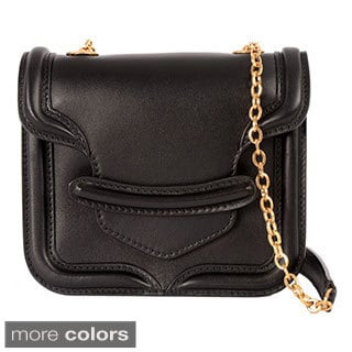 Alexander McQueen 'Heroine' Mini Black Leather Chain Satchel