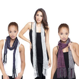 Reversible Hand-knit Scarf with Fringe (Nepal)