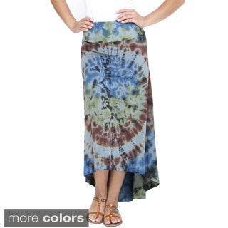 Women's Tie Dye Organic Cotton High-low Maxi Skirt (Nepal)