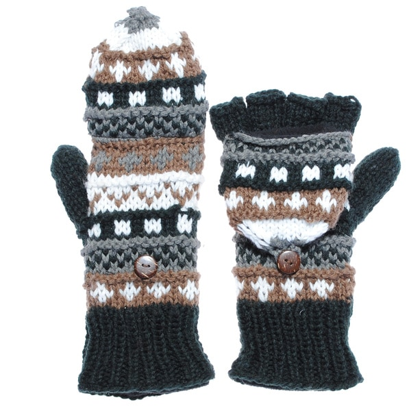 Classic-knit Convertible Fingerless Gloves (Nepal)