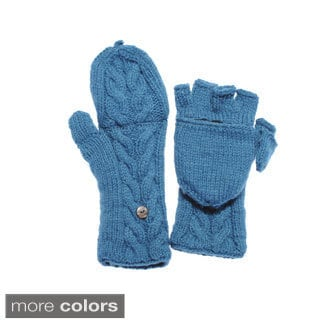 Women's Knit Convertible Fingerless Gloves (Nepal)