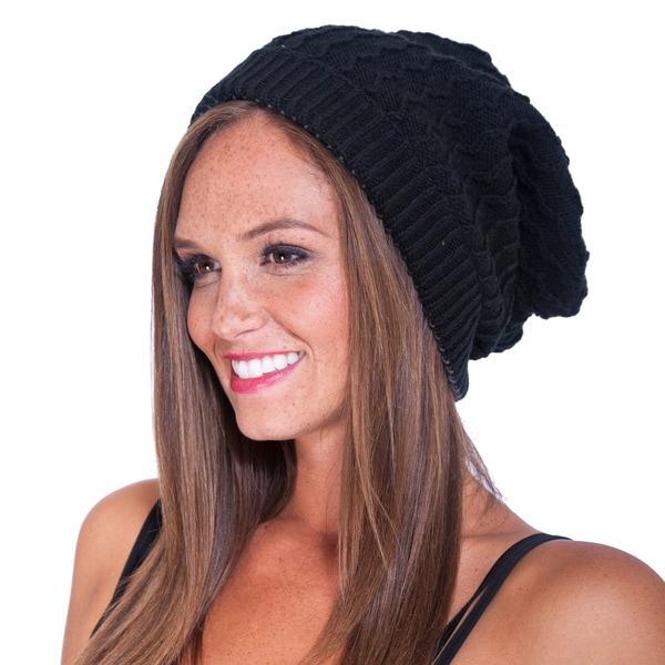 Women's Slouchy Knit Hat with Pom Pom (Nepal)