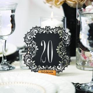 Black Laser-cut Table Number Cards
