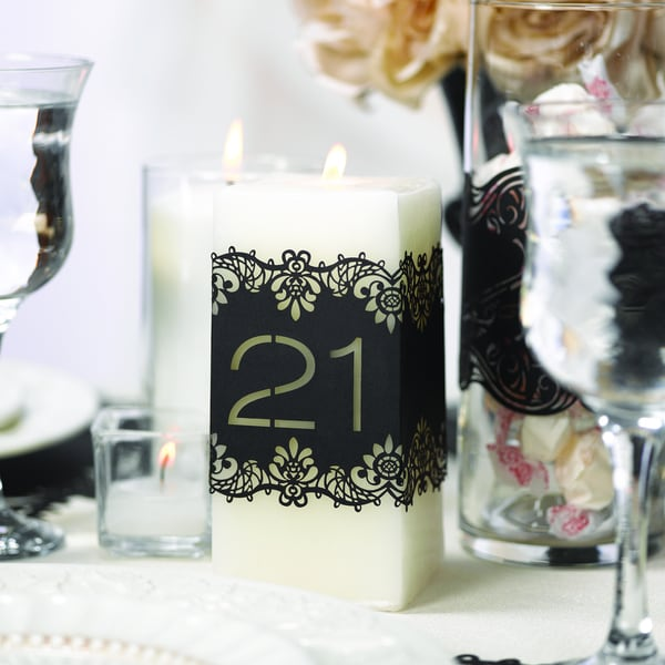 Black Laser-cut Table Number Wrap Set