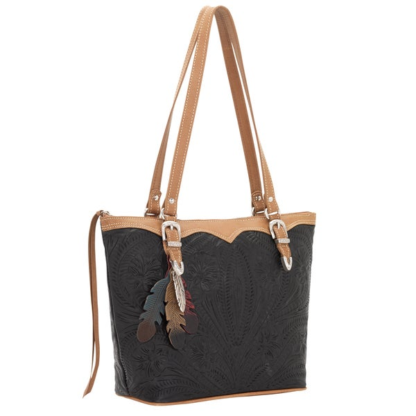 American West Black Feather-embossed Bucket Tote Bag