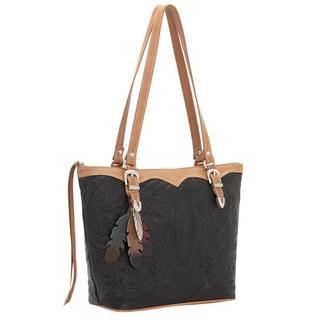 American West Black Feather-embossed Bucket Tote Bag
