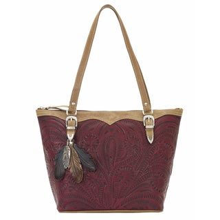 American West Rich Red Tooled Leather Tote Bag