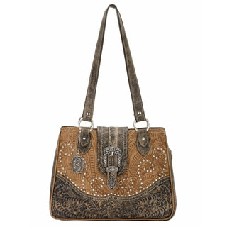 American West Tan Tooled Leather Concealed Carry Handbag