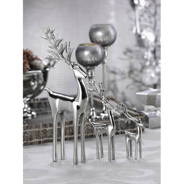 Reindeer Silvertone Decorative Figure