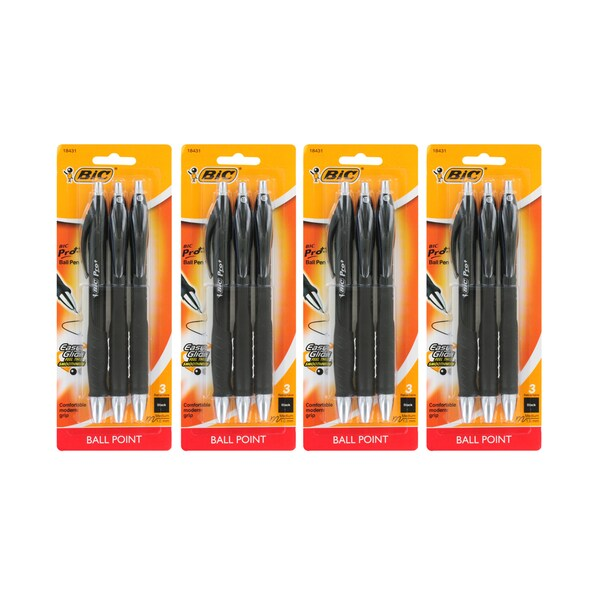 BIC Pro+ Retractable Medium Point Black Ink Ballpoint Pen