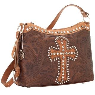 American West Chestnut Brown Cross Applique Concealed Carry Handbag