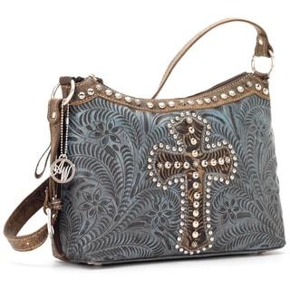 American West Denim Blue Tooled Leather Concealed Carry Handbag