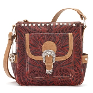 American West Red Tooled Leather Concealed Carry Handbag