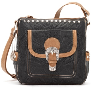 American West Black/ Tan Tooled Leather Concealed Carry Handbag