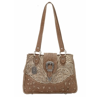 American West Brown and Tan Tooled Leather Concealed Carry Handbag