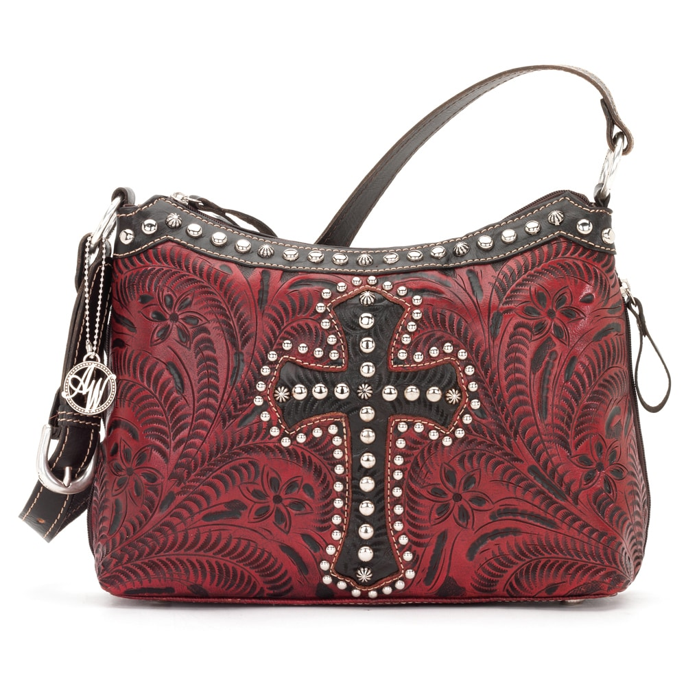 American West Crimson and Brown Leather Concealed Carry Handbag at Sears.com