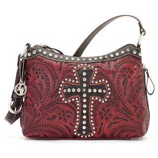 American West Crimson and Brown Leather Concealed Carry Handbag