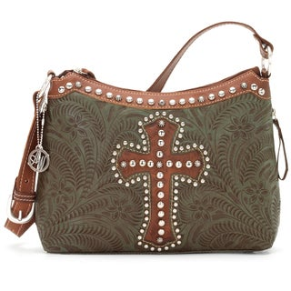 American West Olive Green Tooled Leather Concealed Carry Handbag