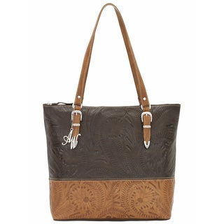 American West Two-tone Tooled Leather Briefcase Tote