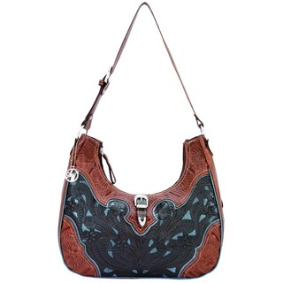 American West Chocolate Brown/ Blue Tooled Leather Concealed Carry Handbag