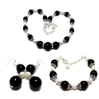 Black and White Pearl Wedding Jewelry Set