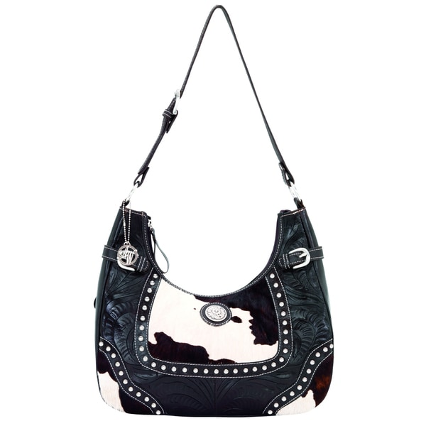 American West Chocolate Leather and Pony Hair Concealed Carry Handbag