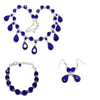 Sapphire Blue Crystal Wedding Jewelry Set