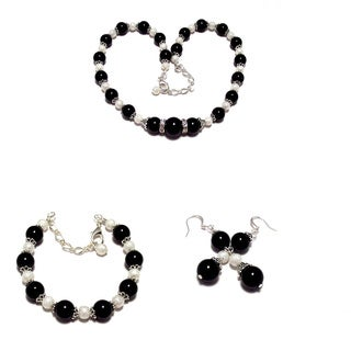 Black and White Pearls Jewelry Set