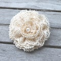 CarolineAlexander Girls Antique White Vintage Lace Hair Flower