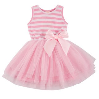 Girls Pink and White Striped Tulle Tutu Dress