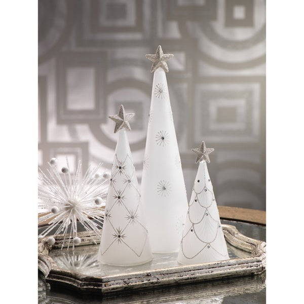 Glass Christmas Tree Cone with Star Topper