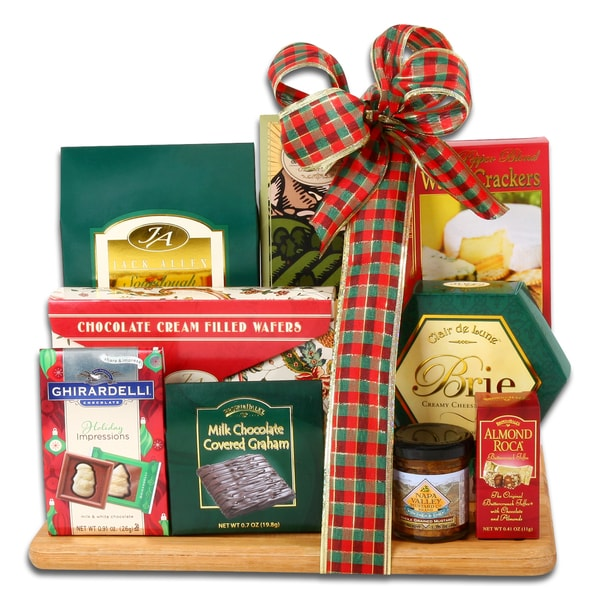 Holiday food basket cutting board gift set overstock