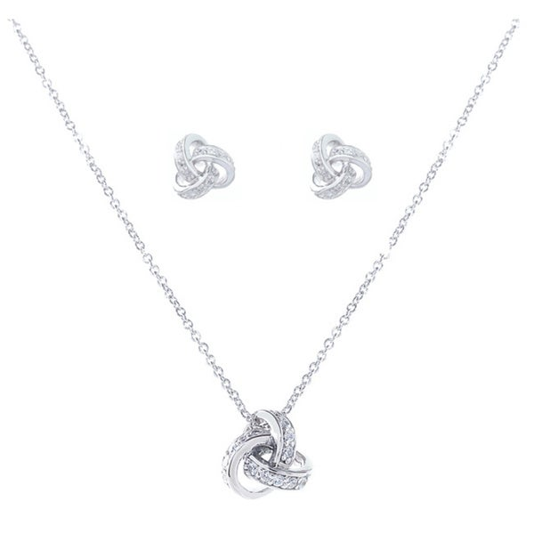 Blue Box Jewels Rhodium-plated Sterling Silver Cubic Zirconia Love Knot Earrings and Necklace