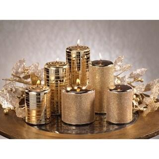Metallic Goldtone Glitter Brush Candles (Set of 6)