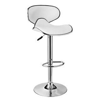 Powell White and Chrome Adjustable Barstool