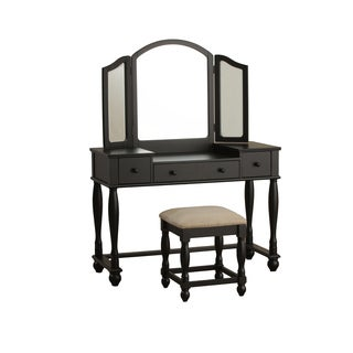 Powell Black Vanity and Square Bench