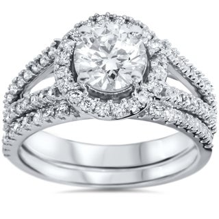 14k White Gold 1 3/4ct TDW White Diamond Split Shank Halo Bridal Set (H-I, I1-I2)