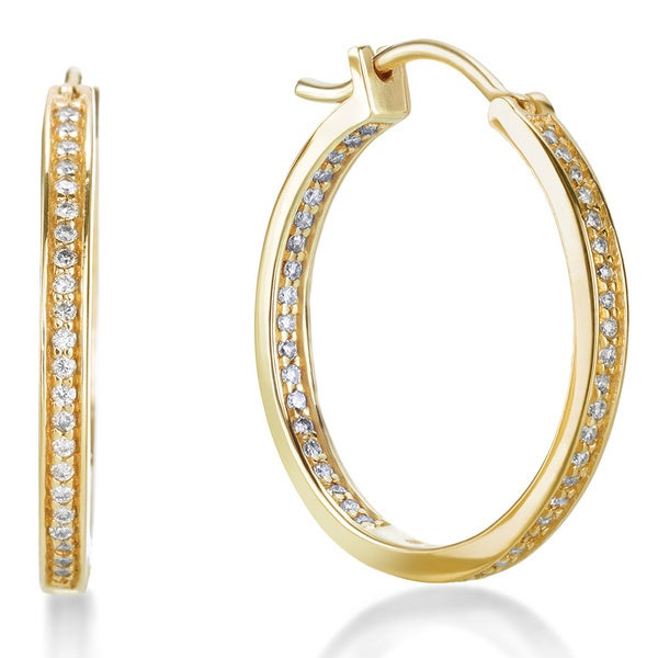 SummerRose 14k Gold 1/2ct TDW Pave-set Inside-out Hoop Earrings (G-H, SI1-SI2)