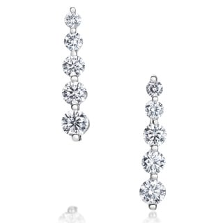 SummerRose 14K White Gold 1ct TDW Five-stone Graduated Line Earrings (G-H, SI1-SI2)