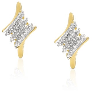 Finesque Gold Over Sterling Silver Diamond Accent Stud Earrings