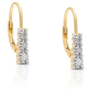 Finesque Gold Over Sterling Silver 1/10ct TDW White Diamond Leverback Earrings (I-J, I2-I3)