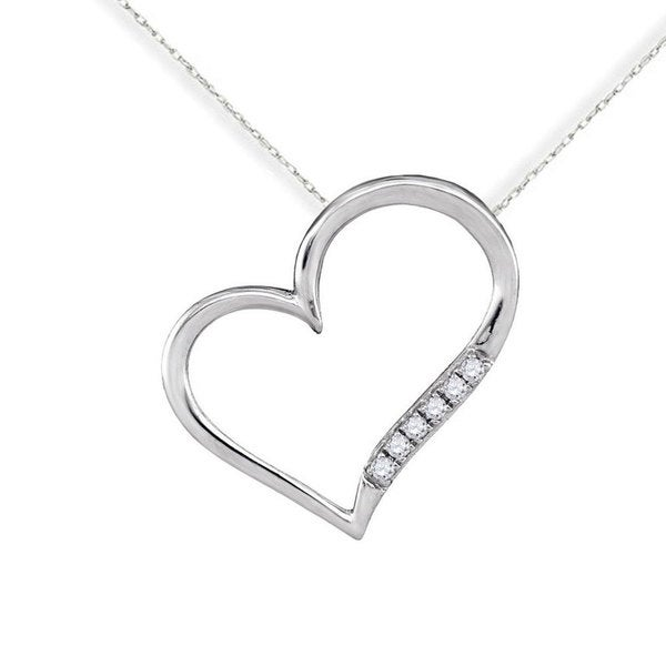 10k White Gold Diamond Accent Heart Love Fashion Pendant Necklace