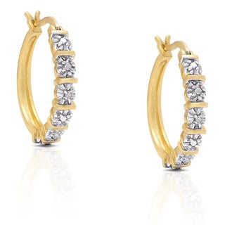 Finesque Gold Over Sterling Silver Diamond Accent Hoop Earrings