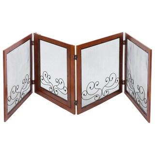 Patton Convertible 4-Panel Wood and Mesh Pet Gate