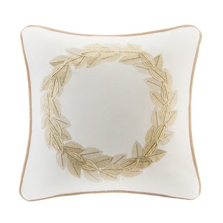 Madison Park Gold Wreath Embroidered Cotton Velvet 20-inch Throw Pillow