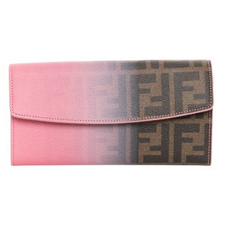 Fendi Zucca Tobacco and Pink Ombre Continetal Wallet