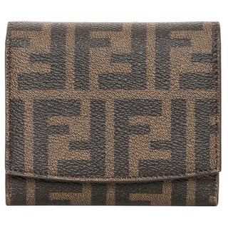 Fendi Zucca Logo and Turquoise Billfold Wallet