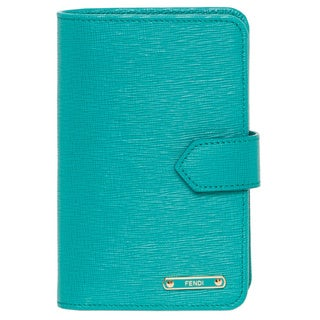 Fendi 'Crayons' Turquoise Leather Bi-fold Wallet