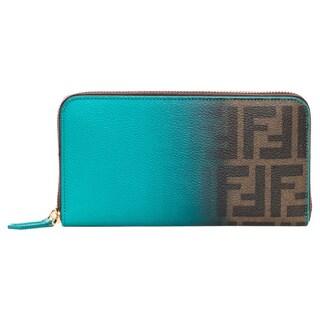 Fendi Zucca and Turquiose Ombr� Zip-around Wallet
